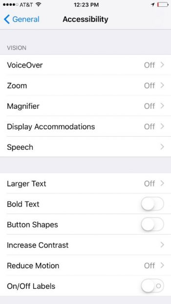 a screenshot of the apple iOS's accessibility options